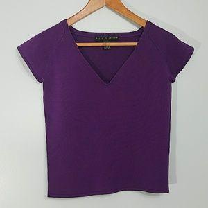 Ralph Lauren Knit V Neck Purple Short Sleeve Top